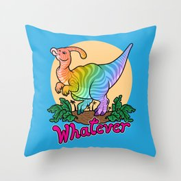 Moody Dinosaur (rainbow) Throw Pillow