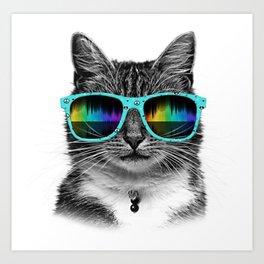 Cool Cat With Glasses Art Print