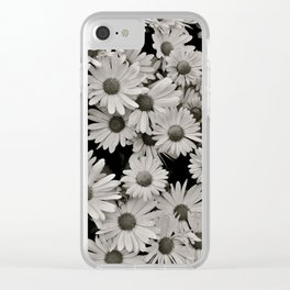 Black and white flowers Clear iPhone Case