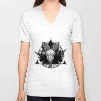 goat V-neck T-shirts featuring Goat by alesaenzart
