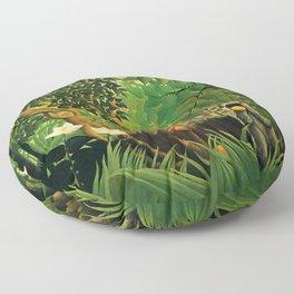 "Henri Rousseau ""Monkeys in the jungle - Exotic landscape"" Floor Pillow"