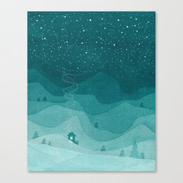 Stars factory, teal mountains house watercolor landscape Canvas Print