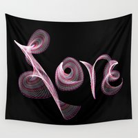 letters Wall Tapestries featuring Love Letters by Tina Vaughn