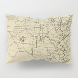 Vintage Texas Highway Map (1917) Pillow Sham