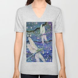 Dragonflies on Dragon's Tears Unisex V-Neck