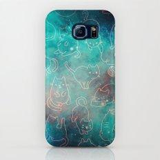 Cat Space Cats - Blue Green Galaxy Stars Pink Star Kitty Pattern Galaxy S7 Slim Case