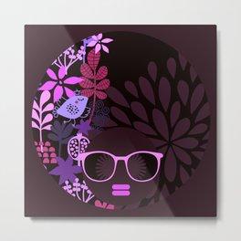 Afro Divva Magenta Lavender Eggplant Metal Print