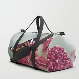Butterfly Love for Red Flowers Duffle Bag