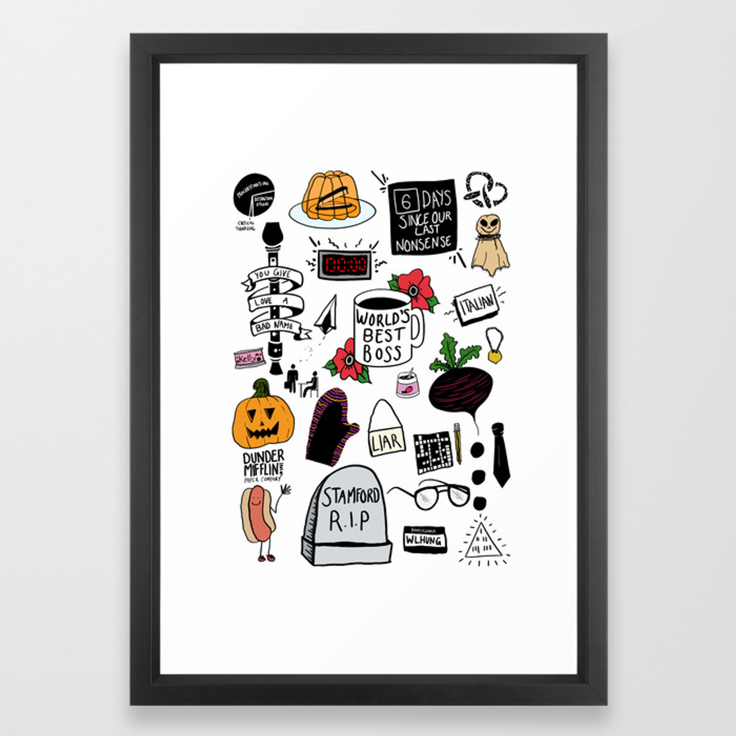 The Office Doodles Framed Art Print By
