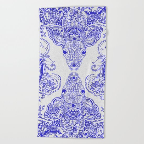 Little Blue Deer Beach Towel