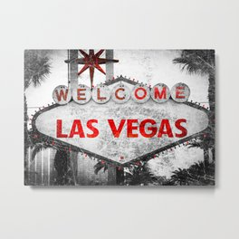 Fabulous Las Vegas Sign Scratched Aged Metal Print