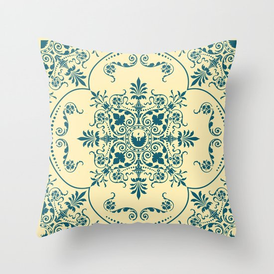 Decorative Pattern in Creme and Blue Throw Pillow