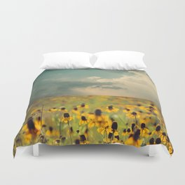 Yellow Hat Dance -- Dreamy Botanical Landscape Mexican Hat Coneflowers Afield Duvet Cover