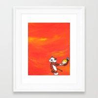 calvin hobbes Framed Art Prints featuring Calvin & Hobbes Dancing - Orange by Always Add Color