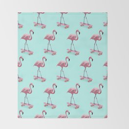 Skating Flamingo Throw Blanket