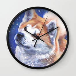 Akita inu Fine Art Dog Painting by L.A.Shepard Wall Clock