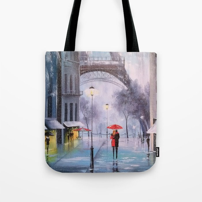 the first snow in Paris Tote Bag