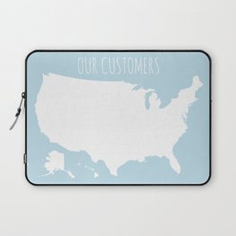 Our Customers USA Map in Light Blue Laptop Sleeve