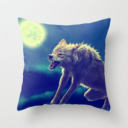 Vicious Snarling Wolf  Throw Pillow