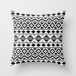 Aztec Essence Ptn III Black on White Throw Pillow