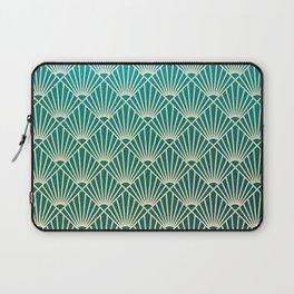 Teal golden Art Deco pattern Laptop Sleeve