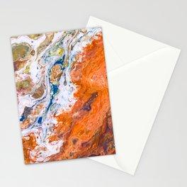 Orange Crush Acrylic Pour Painting Stationery Cards