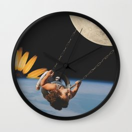 Collage of Girl on Swing in Space Wall Clock