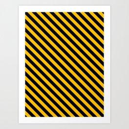 Amber Orange and Black Diagonal LTR Stripes Art Print