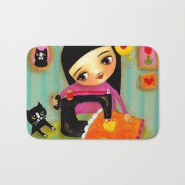 Little sewing girl with black cat Bath Mat