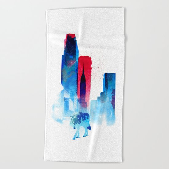 The wolf of the City Beach Towel