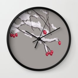 Winter Berries Branches Covered In Snow Wall Clock