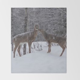 Kissing Deer Throw Blanket