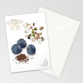 Blueberry and Pollinators Stationery Cards
