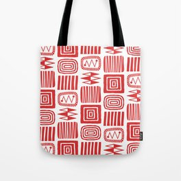 Retro Mid Century Modern Check Pattern 240 Red Tote Bag