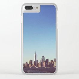 NYC Skyline View from Staten Island Ferry Clear iPhone Case