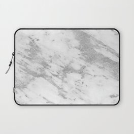 Marble - Silver and White Marble Pattern Laptop Sleeve