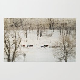 Horses in the Winter Rug