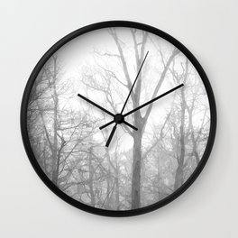 Black and White Forest Illustration Wall Clock