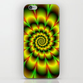 Spiral Rosette in Yellow Green and Red iPhone Skin