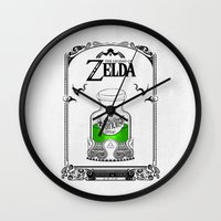legend of zelda Wall Clocks featuring Zelda legend - Green potion  by Art & Be