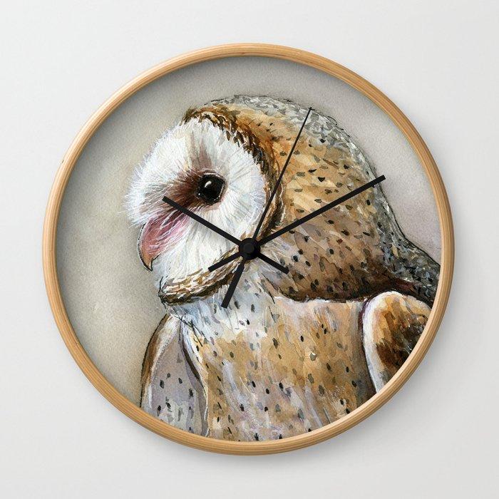 Barn Owl Watercolor, Birds Of Prey Wild Animals Owls Wall Clock