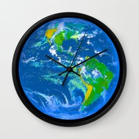 earth Wall Clocks featuring Earth by Saundra Myles