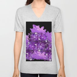 AWESOME PURPLE AMETHYST CRYSTAL CLUSTER Unisex V-Neck