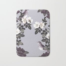 Birds and the Bees Blue Gray Bath Mat
