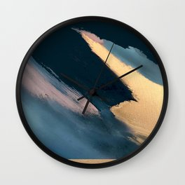 Ignite: colorful abstract in blue pink and gold Wall Clock