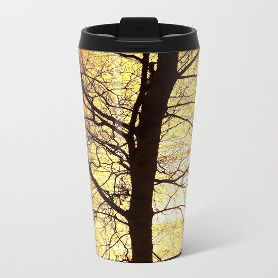 Tree Silhouette At Sunset Metal Travel Mug