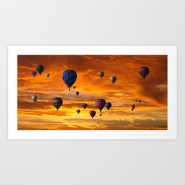 Hot Air Balloons Into a Sunset Sky Art Print