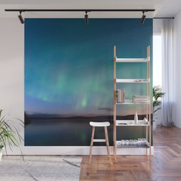 Norway Photography - Colorful Northern Lights Over A Lake Wall Mural
