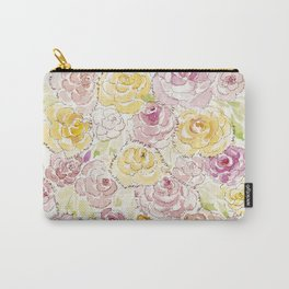 Faded Roses - Watercolor Carry-All Pouch