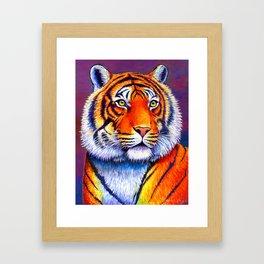 Colorful Bengal Tiger Portrait Framed Art Print